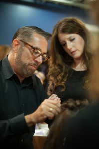 Anthony dressing hair at the Oribe event.
