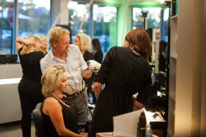 Ronnie Stam; Creative Director of Oribe, gives styling  tips to some of our stylists