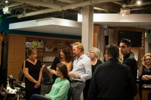 Ronnie Stam, Oribe's Creative Director giving styling tips to our stylists
