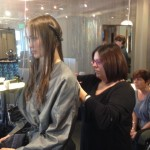 Model prep for our Primary Syn Hair Color photo shoot. Fall, 2014